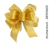ornamental golden bow on pure... | Shutterstock . vector #38503603