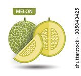 cantaloupe melon  fruit vector... | Shutterstock .eps vector #385043425