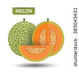 cantaloupe melon  fruit vector... | Shutterstock .eps vector #385043431
