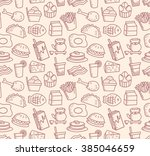 food and drink background doodle | Shutterstock . vector #385046659