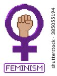 pixelated feminist fist vector. ... | Shutterstock .eps vector #385055194