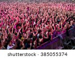 madrid   sep 12  crowd in a... | Shutterstock . vector #385055374