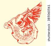 grunge ornamental skull with... | Shutterstock .eps vector #385060561