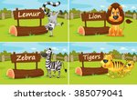 wild animals by the wooden... | Shutterstock .eps vector #385079041