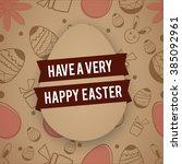 happy easter typographical...   Shutterstock .eps vector #385092961