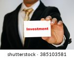 investment is the key   | Shutterstock . vector #385103581
