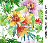 tropical leaves and flowers.... | Shutterstock . vector #385109194