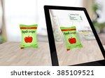augmented reality apple crisps... | Shutterstock . vector #385109521