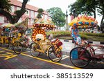trishaw decorated with colorful ... | Shutterstock . vector #385113529