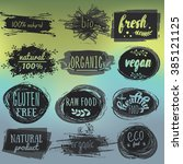 labels with vegetarian and raw... | Shutterstock .eps vector #385121125