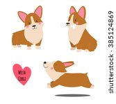 Stock vector cute welsh corgi set in different poses funny corgi vector illustration portrait of a dog for 385124869