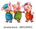 Cartoon Isolated Young Pigs In...
