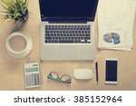 work space concept in vintage... | Shutterstock . vector #385152964
