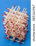 fragile tower made of match... | Shutterstock . vector #385161967
