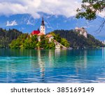 bled with lake  island and...   Shutterstock . vector #385169149