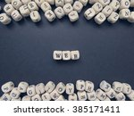 word web of small white cubes...   Shutterstock . vector #385171411