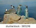 Seagulls And Penguin Sculpture...