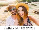happy traveling couple  making ... | Shutterstock . vector #385198255
