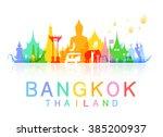 bangkok thailand travel. vector ... | Shutterstock .eps vector #385200937