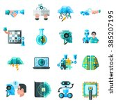 artificial intelligence icons... | Shutterstock .eps vector #385207195