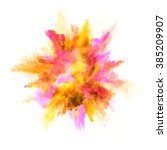 explosion of colored powder on... | Shutterstock . vector #385209907