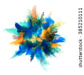 explosion of colored powder on...   Shutterstock . vector #385210111