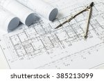 drawings  blueprints close up | Shutterstock . vector #385213099