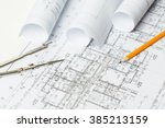 drawings  blueprints close up | Shutterstock . vector #385213159
