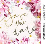 trendy invitation template with ... | Shutterstock . vector #385217449