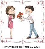 man brings flowers to shy woman ...