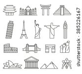 world landmarks outline icons ... | Shutterstock .eps vector #385226167