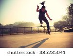 Silhouette Of Skateboarder...