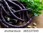 Purple Bean Pods And Leaves Of...