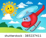 helicopter theme image 3  ... | Shutterstock .eps vector #385237411