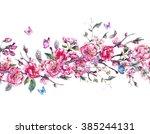 vintage horizontal garden... | Shutterstock . vector #385244131
