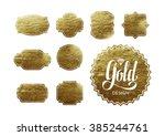 set of trendy gold foil tags...   Shutterstock .eps vector #385244761
