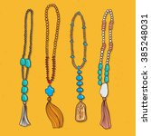 vector set ethnic jewels with... | Shutterstock .eps vector #385248031