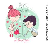 boy and girl. love cards. theme ... | Shutterstock .eps vector #385255741
