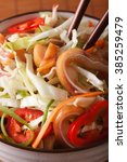 asian salad with pig ears and... | Shutterstock . vector #385259479