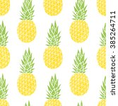 cartoon pineapple on a white... | Shutterstock .eps vector #385264711
