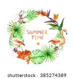 tropical leaves  exotic... | Shutterstock . vector #385274389