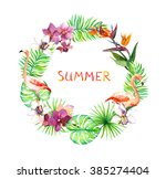 tropical leaves  exotic... | Shutterstock . vector #385274404