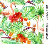 flamingo  tropical leaves and... | Shutterstock . vector #385274485