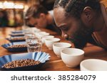coffee tasting with baristas... | Shutterstock . vector #385284079