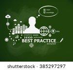 best practice concept and man....   Shutterstock .eps vector #385297297