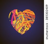 bright heart with colored lines ... | Shutterstock .eps vector #385302409
