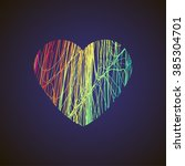 bright heart with colored lines ... | Shutterstock .eps vector #385304701