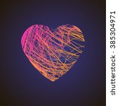 bright heart with colored lines ... | Shutterstock .eps vector #385304971