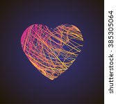 bright heart with colored lines ... | Shutterstock .eps vector #385305064