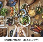 brunch choice crowd dining food ... | Shutterstock . vector #385310494